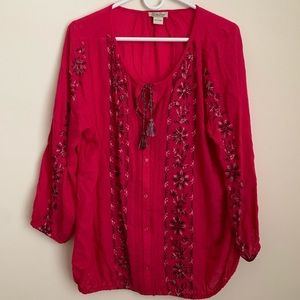 Lucky brand hot pink Snowflake embroidered top